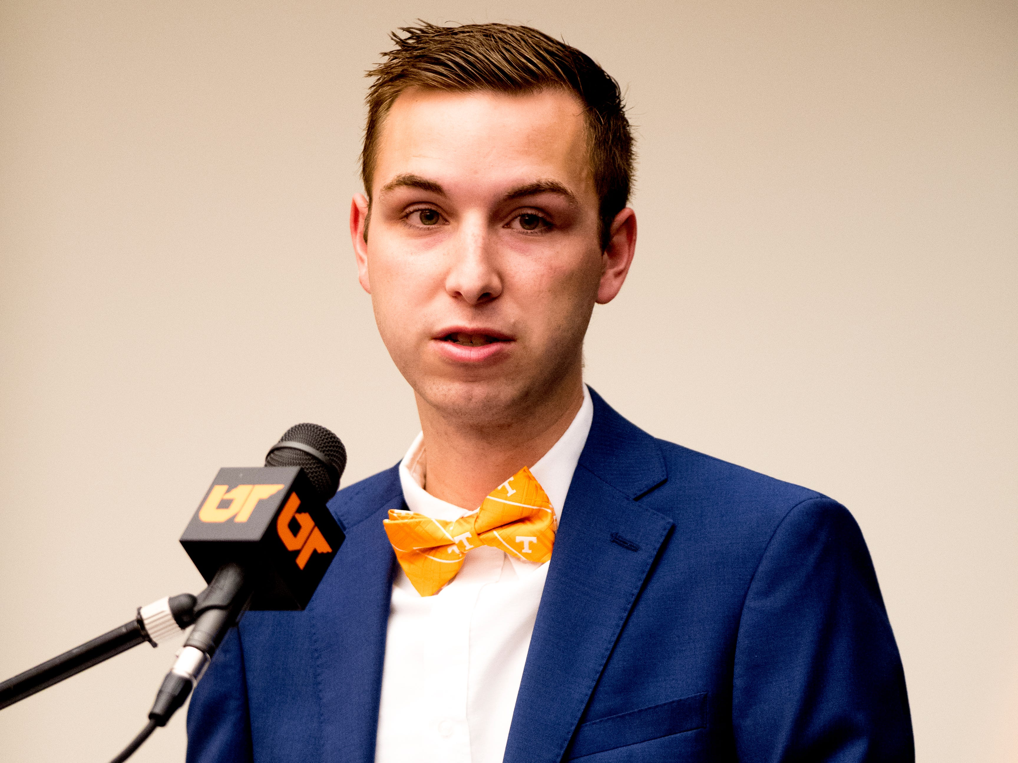 UTK freshman Noah Smith speaks in support of Randy Boyd as UTK interim president during a University of Tennessee Board of Trustees meeting at the UTK Visitor's Center in Knoxville, Tennessee on Tuesday, September 25, 2018. The board met to discuss several topics including the installment of an interim president.