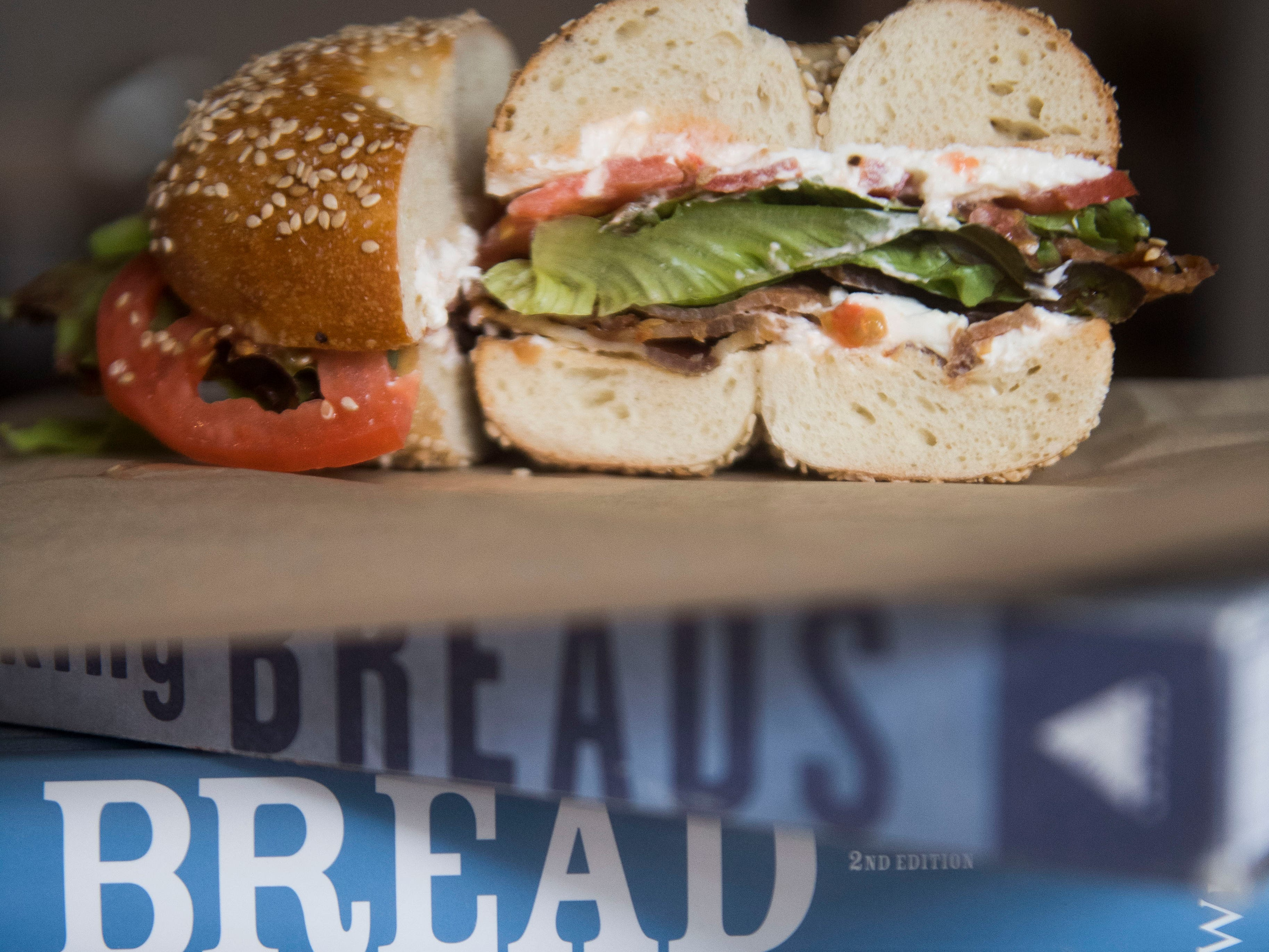 A BLT on a bagel at Paysan Bread & Bagels outside of downtown Knoxville, Tuesday, Sept. 25, 2018.