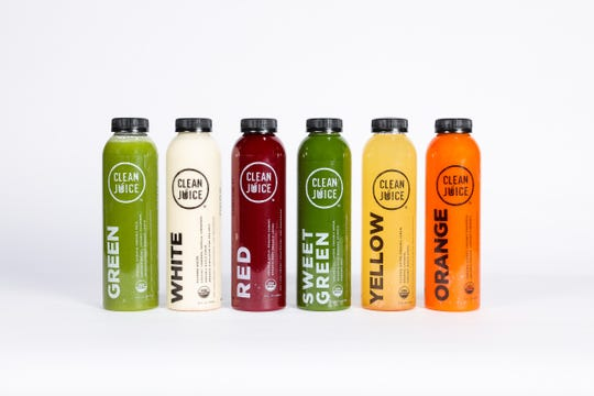 Clean Juice's juices are prepared on site via a cold-pressed process.
