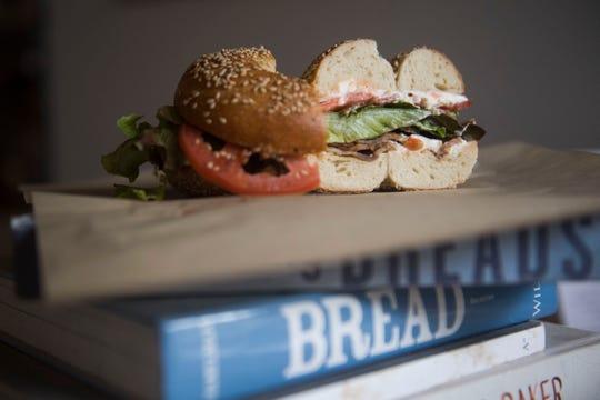 A BLT bagel sandwich is a lunchoption at Paysan Bread & Bagels.