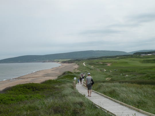 Inverness, Nova Scotia, a stop on the Ceilidh Trail, is a favorite destination for golfers who play at Cabot Links, one of Canada's top courses. A windswept boardwalk separates the links from the beach.