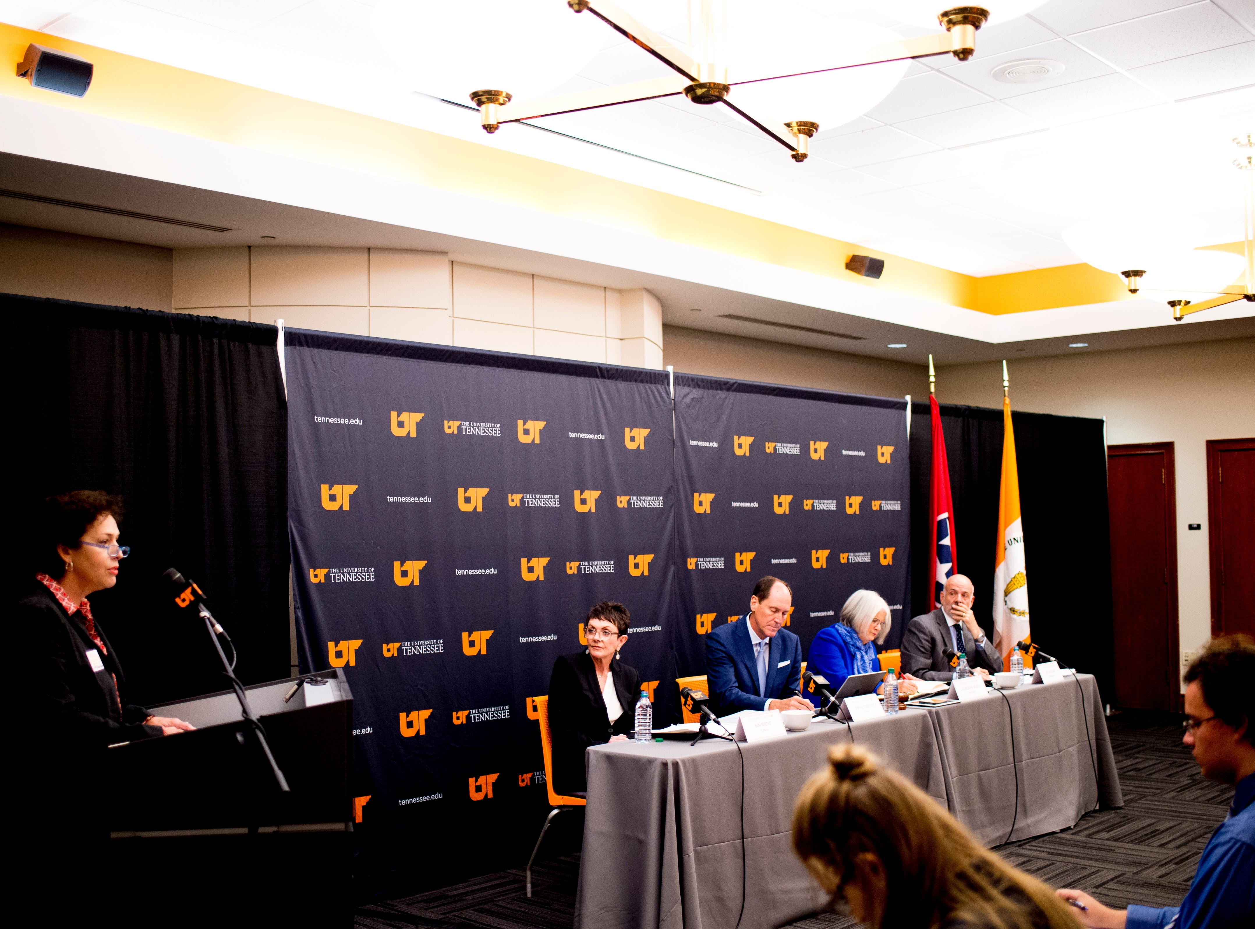 The University of Tennessee Board of Trustees meets at the UTK Visitor's Center in Knoxville, Tennessee on Tuesday, September 25, 2018. The board met to discuss several topics including the installment of an interim president.