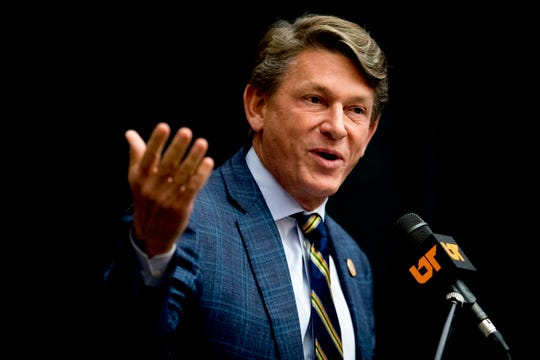 Randy Boyd speaks after being confirmed as the interim president for the University of Tennessee during a University of Tennessee Board of Trustees meeting at the UTK Visitor's Center in Knoxville, Tennessee on Tuesday, September 25, 2018.