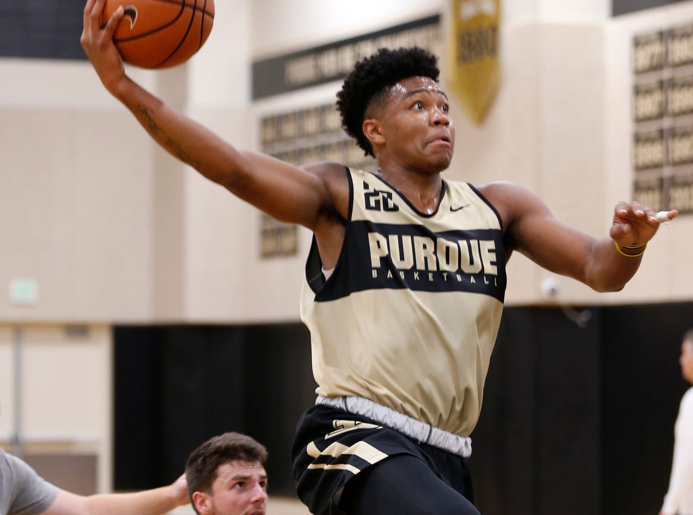 Nojel Eastern drives to the basket for a shot during the first official practice of the season for Purdue men's basketball Tuesday, September 25, 2018, at Cardinal Court in Mackey Arena.