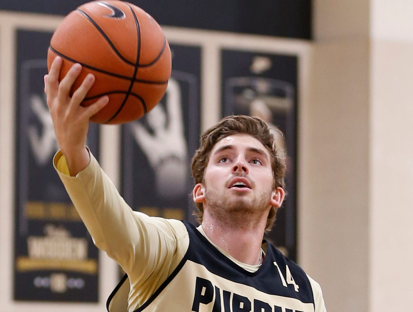 Ryan cline with a layup during the first official practice of the season for Purdue men's basketball Tuesday, September 25, 2018, at Cardinal Court in Mackey Arena.