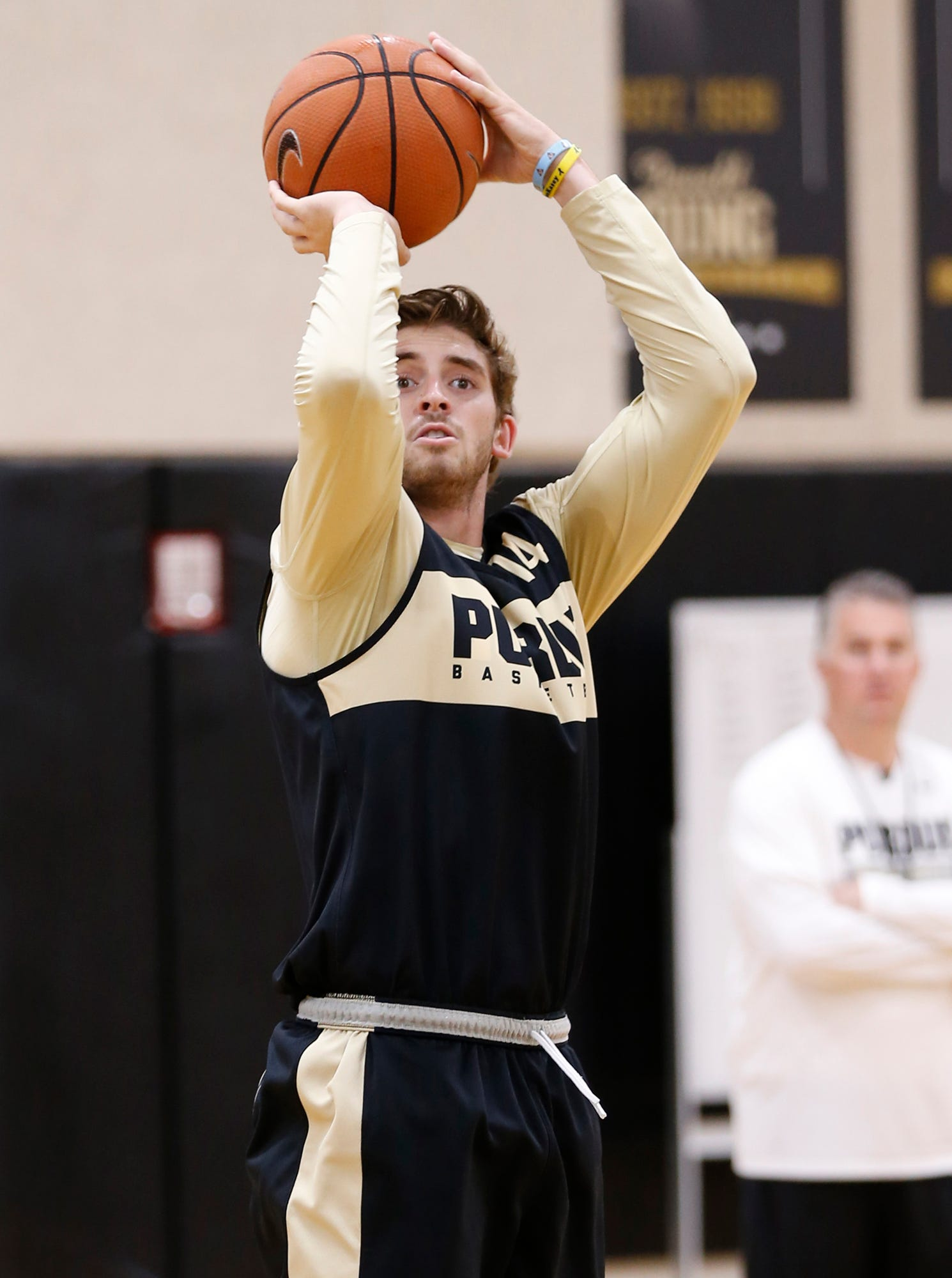 Ryan Cline with a shot during the first official practice of the season for Purdue men's basketball Tuesday, September 25, 2018, at Cardinal Court in Mackey Arena.