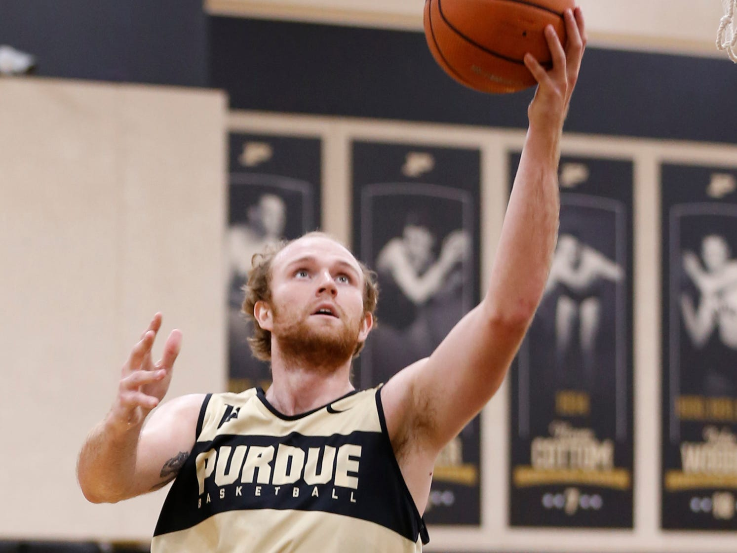 Evan Boudreaux with a layup during the first official practice of the season for Purdue men's basketball Tuesday, September 25, 2018, at Cardinal Court in Mackey Arena.
