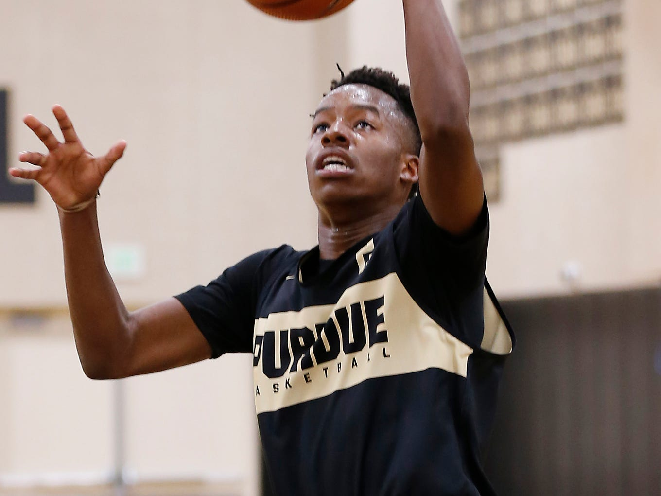 Eric Hunter Jr. with a layup during the first official practice of the season for Purdue men's basketball Tuesday, September 25, 2018, at Cardinal Court in Mackey Arena.