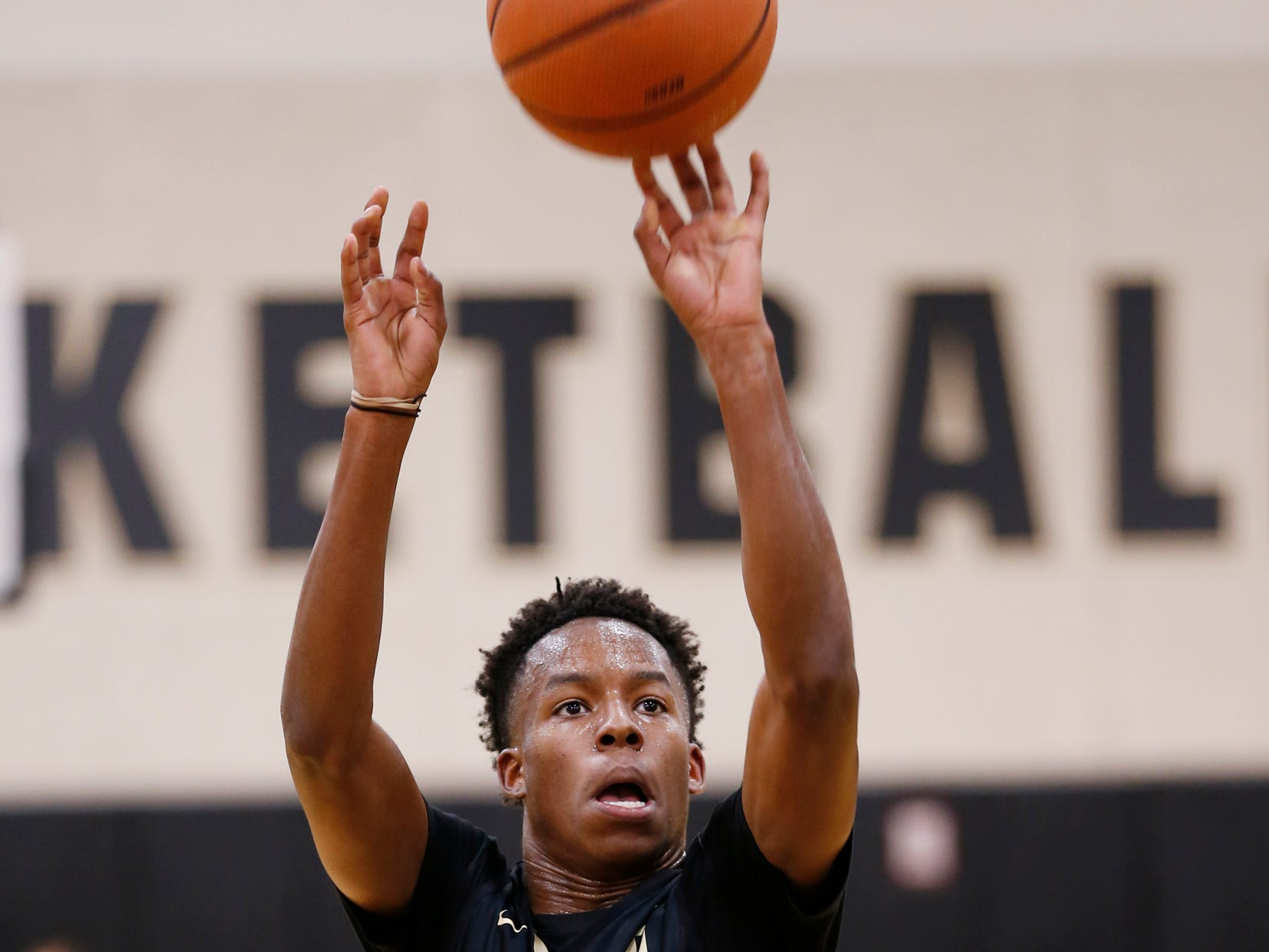 Eric Hunter Jr. with a shot during the first official practice of the season for Purdue men's basketball Tuesday, September 25, 2018, at Cardinal Court in Mackey Arena.