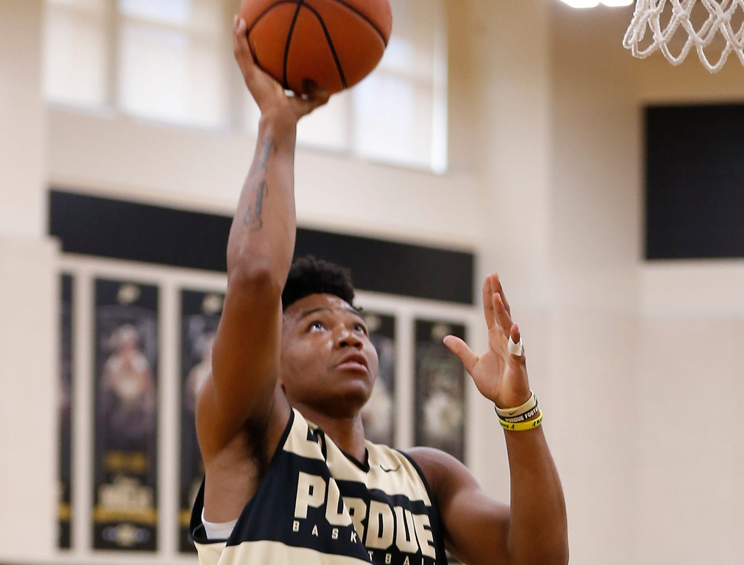 Nojel Eastern with a layup during the first official practice of the season for Purdue men's basketball Tuesday, September 25, 2018, at Cardinal Court in Mackey Arena.