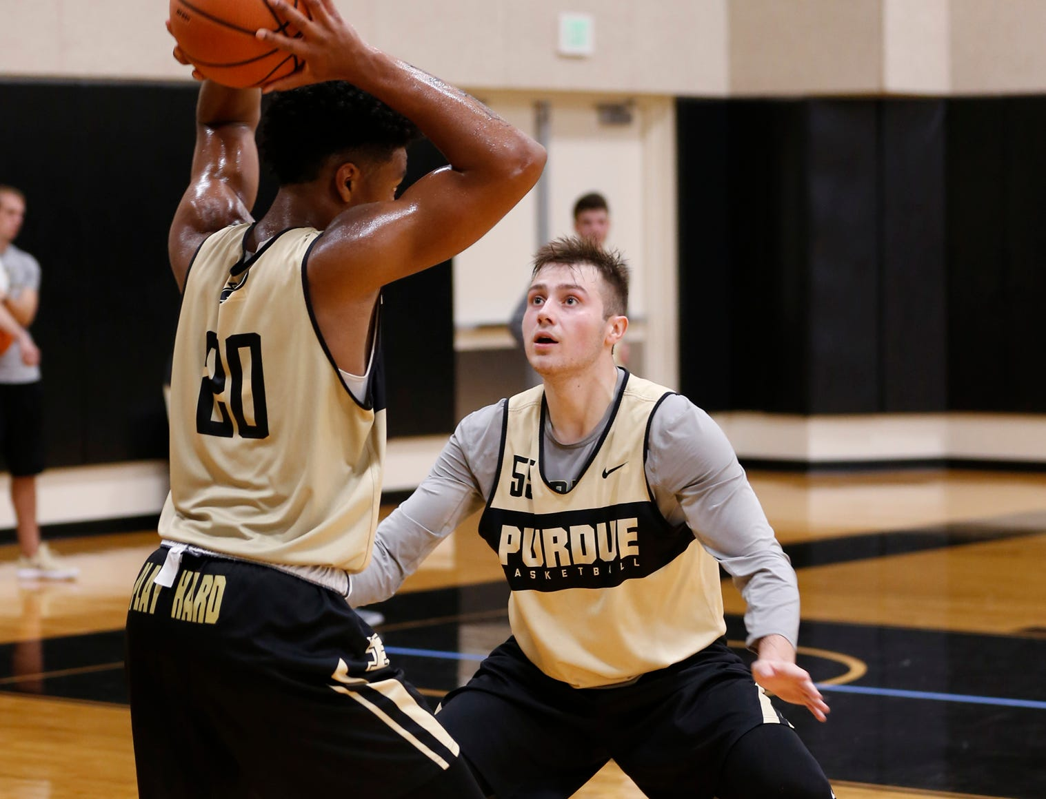 Sasha Stefanovic guards Nojel Eastern during the first official practice of the season for Purdue men's basketball Tuesday, September 25, 2018, at Cardinal Court in Mackey Arena.