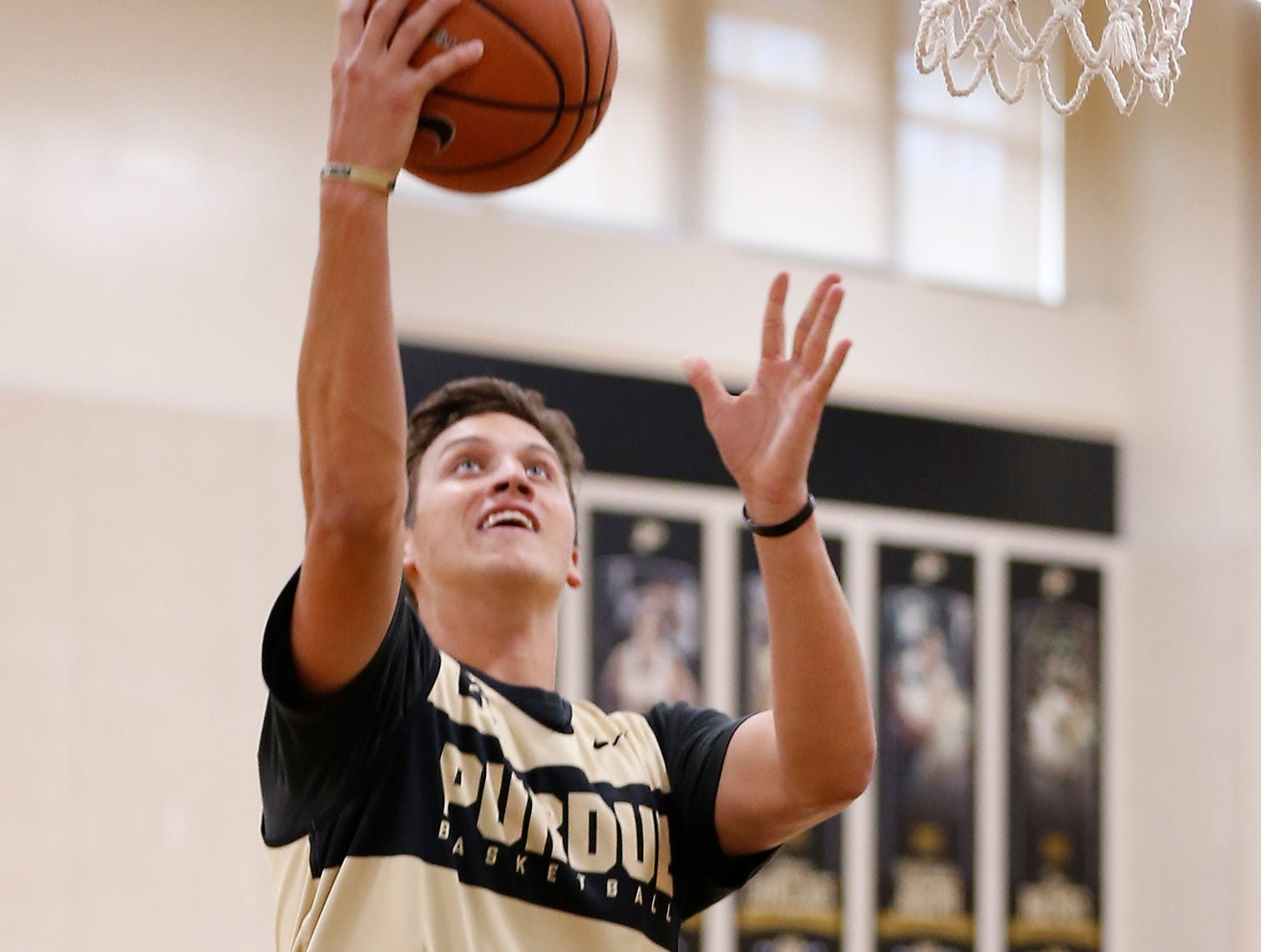 Grady Eifert with a layup during the first official practice of the season for Purdue men's basketball Tuesday, September 25, 2018, at Cardinal Court in Mackey Arena.