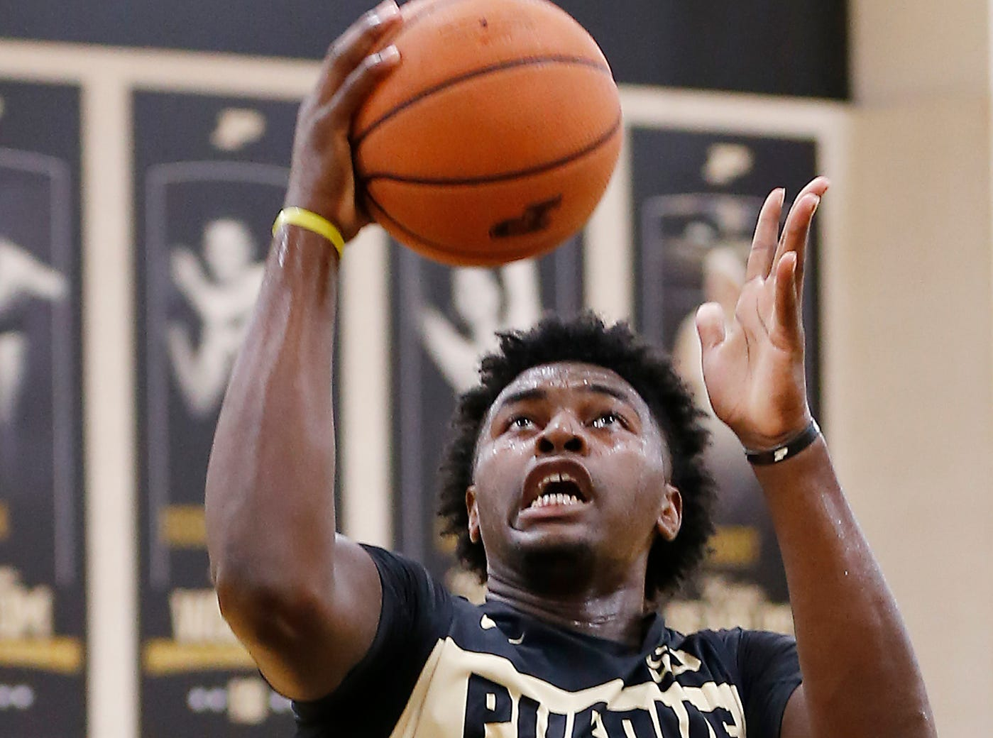 Trevion Williams with a layup during the first official practice of the season for Purdue men's basketball Tuesday, September 25, 2018, at Cardinal Court in Mackey Arena.