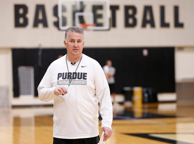 Head coach Matt Painter watches as players run through drills during the first official practice of the season for Purdue men's basketball Tuesday, September 25, 2018, at Cardinal Court in Mackey Arena.