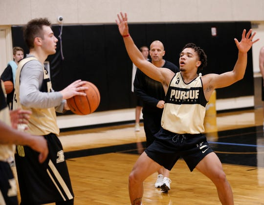 Carsen Edwards picks up Sasha Stefanovic during the first official practice of the season for Purdue men's basketball Tuesday, September 25, 2018, at Cardinal Court in Mackey Arena.