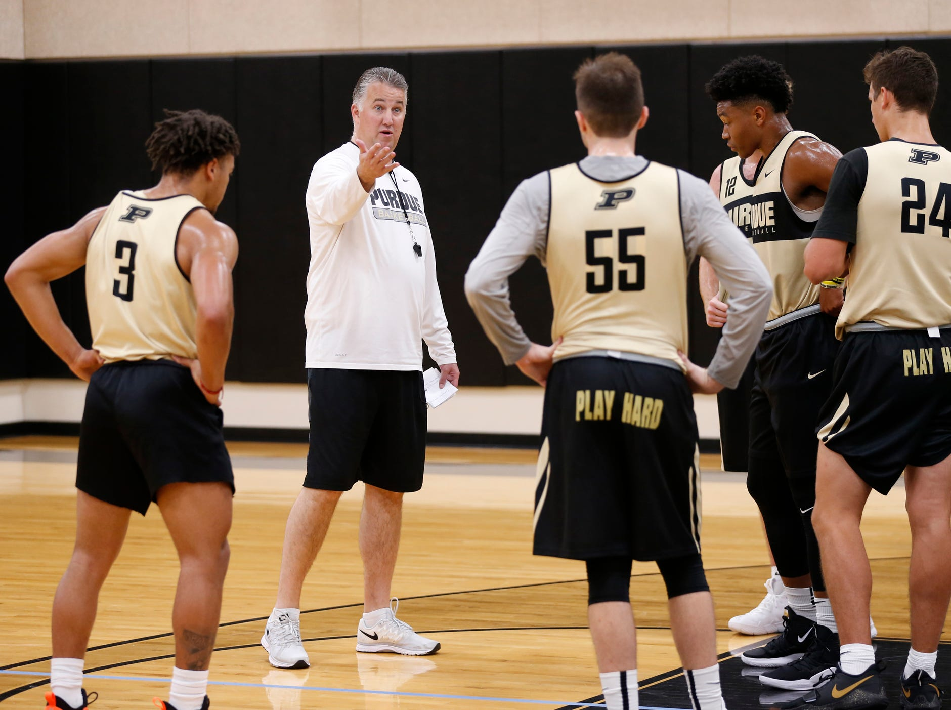 Head coach Matt Painter with instructions during the first official practice of the season for Purdue men's basketball Tuesday, September 25, 2018, at Cardinal Court in Mackey Arena.
