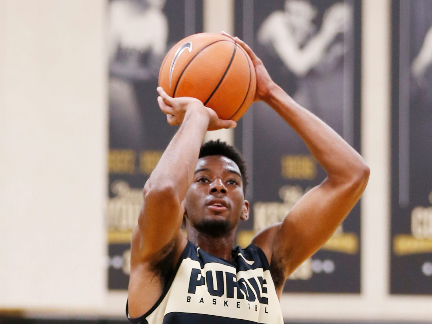 Aaron Wheeler with a shot during the first official practice of the season for Purdue men's basketball Tuesday, September 25, 2018, at Cardinal Court in Mackey Arena.