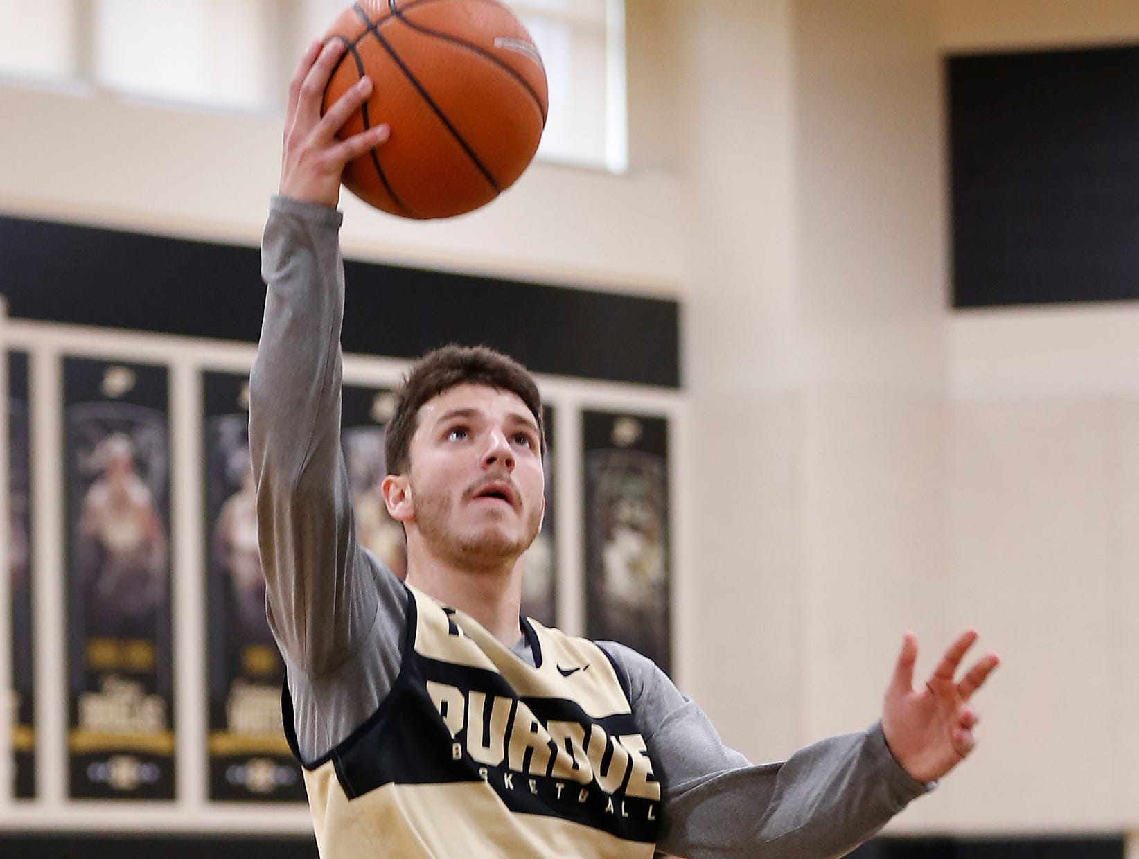 Tommy Luce with a layup during the first official practice of the season for Purdue men's basketball Tuesday, September 25, 2018, at Cardinal Court in Mackey Arena.