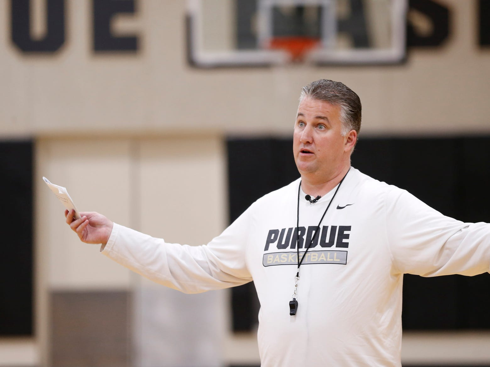 Head coach Matt Painter gives instructions to his players at the start of the first official practice of the season for Purdue men's basketball Tuesday, September 25, 2018, at Cardinal Court in Mackey Arena.
