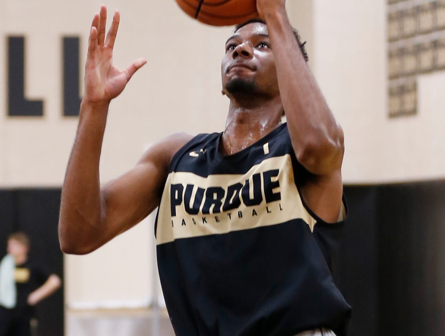 Aaron Wheeler with a layup during the first official practice of the season for Purdue men's basketball Tuesday, September 25, 2018, at Cardinal Court in Mackey Arena.