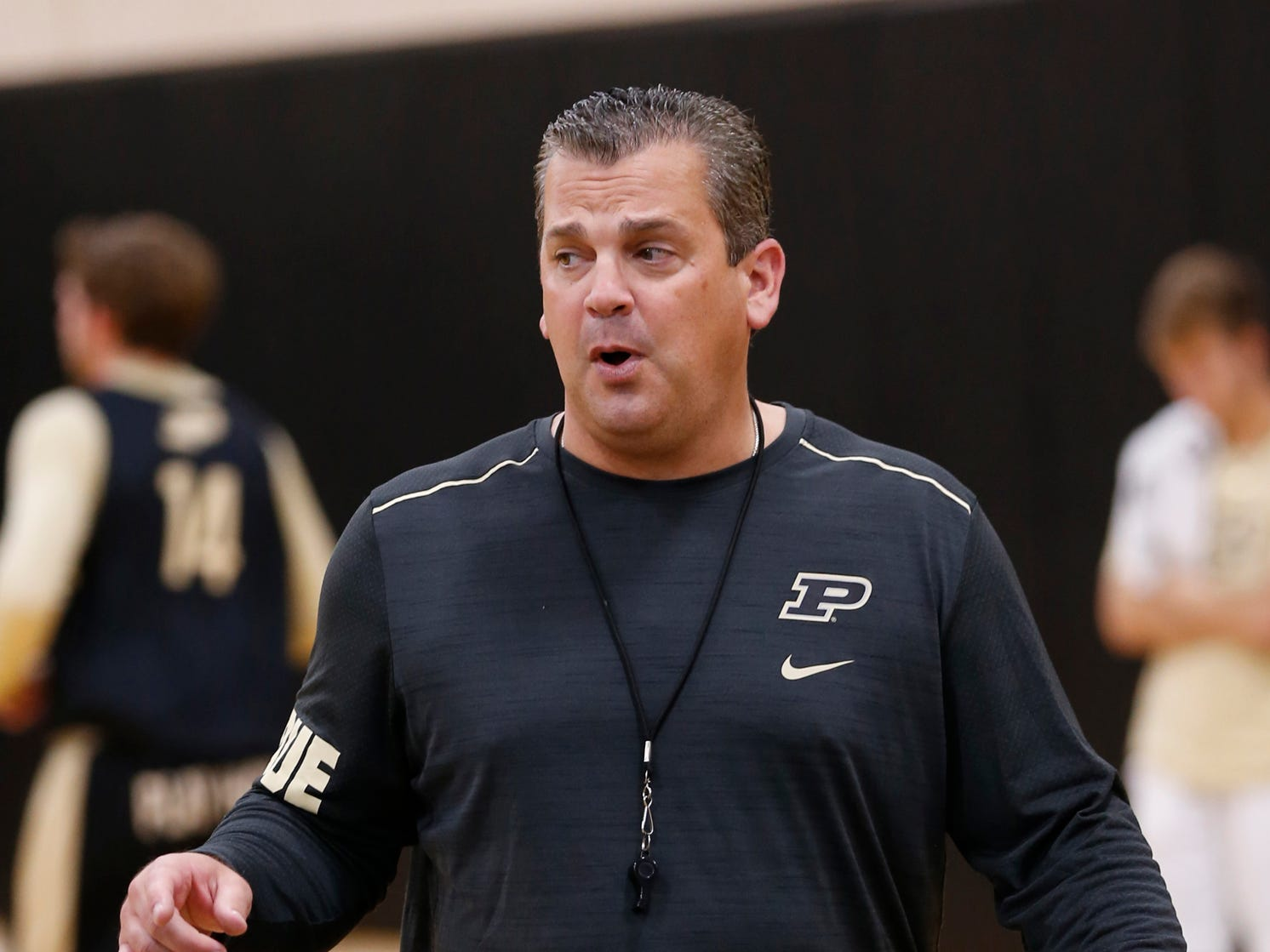 Assistant coach Greg Gary during the first official practice of the season for Purdue men's basketball Tuesday, September 25, 2018, at Cardinal Court in Mackey Arena.