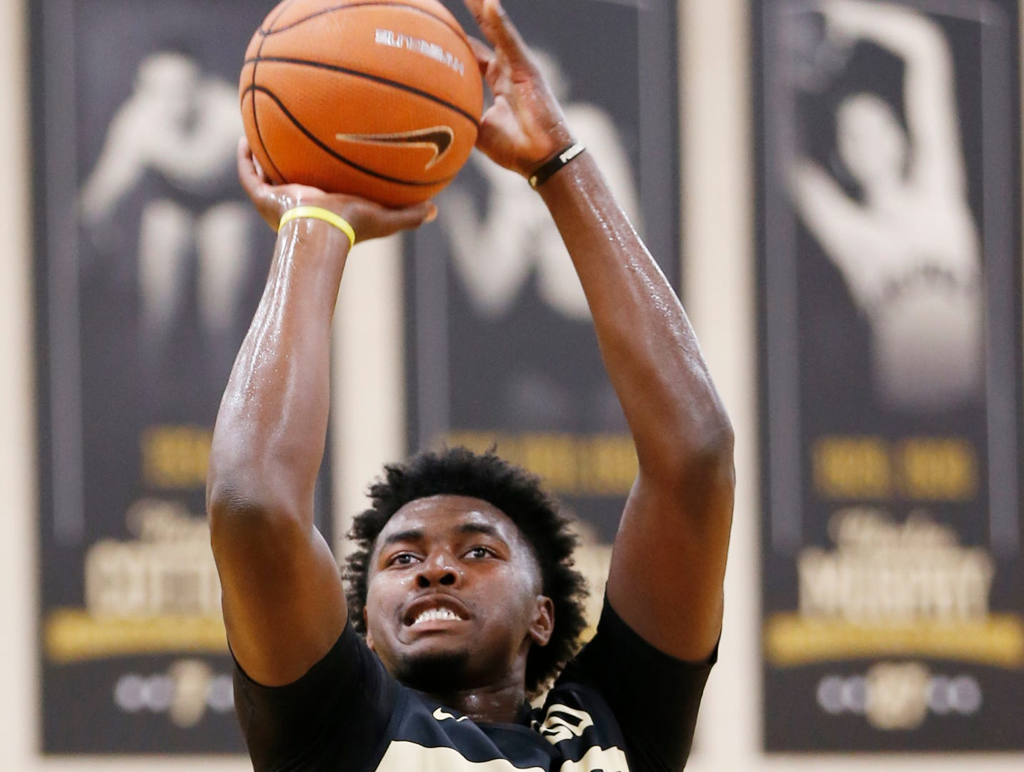 Trevion Williams puts up a shot during the first official practice of the season for Purdue men's basketball Tuesday, September 25, 2018, at Cardinal Court in Mackey Arena.