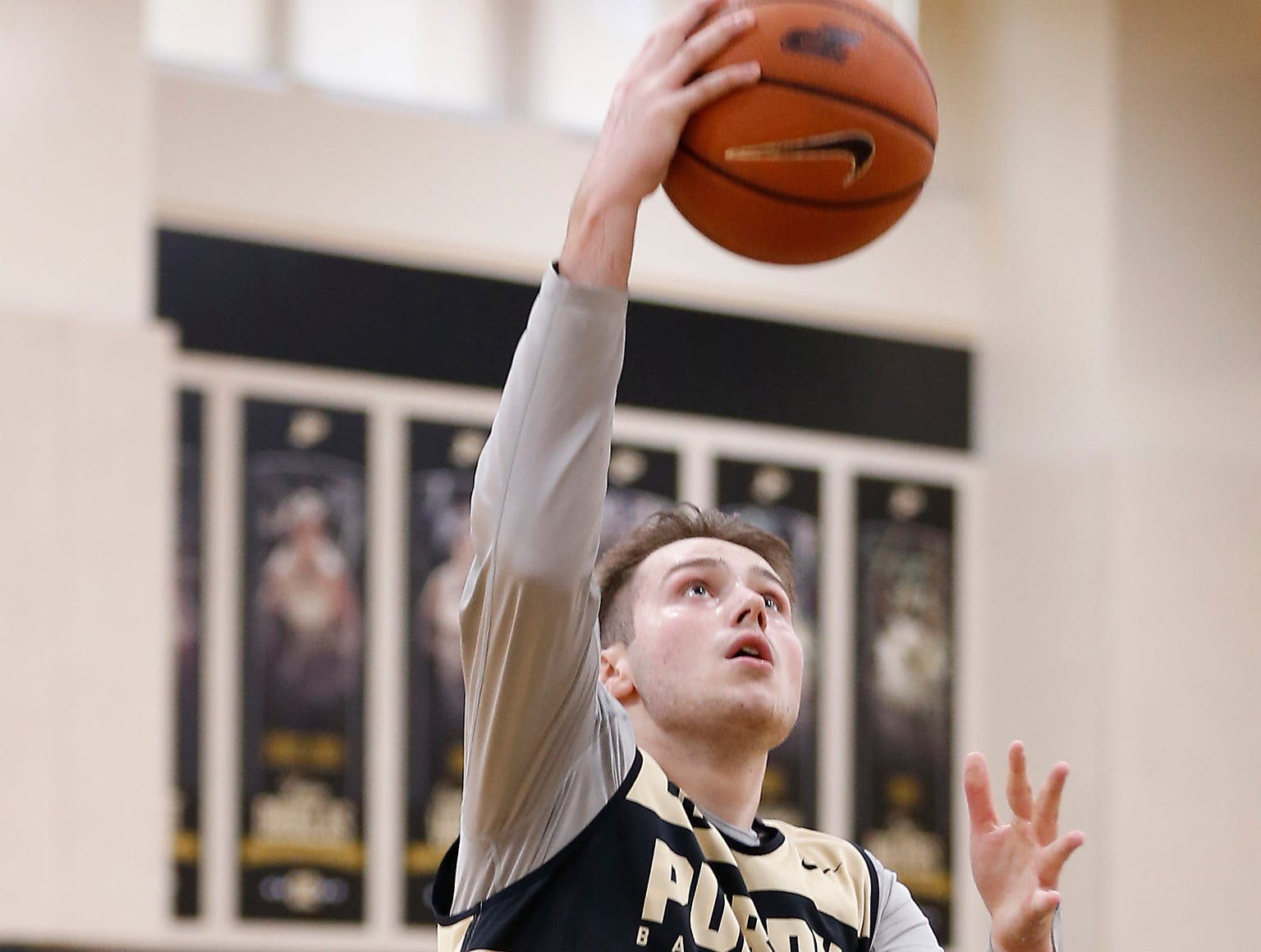 Sasha Stefanovic with a layup during the first official practice of the season for Purdue men's basketball Tuesday, September 25, 2018, at Cardinal Court in Mackey Arena.