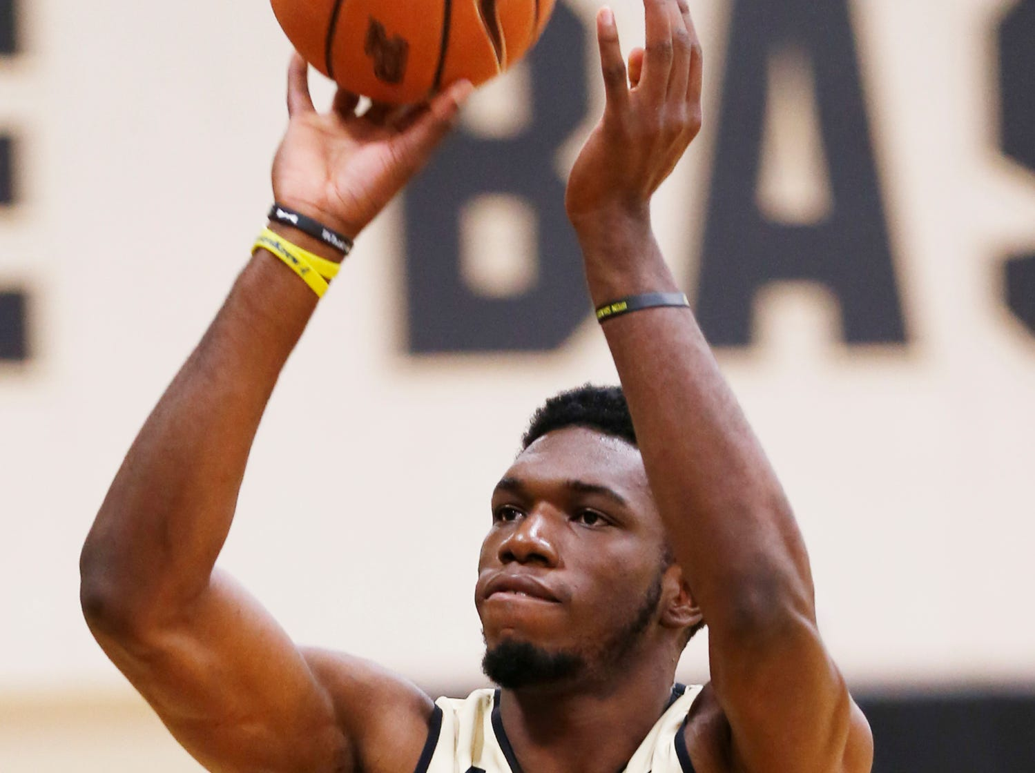 Freshman Emmanuel Dowuona with a shot during the first official practice of the season for Purdue men's basketball Tuesday, September 25, 2018, at Cardinal Court in Mackey Arena.