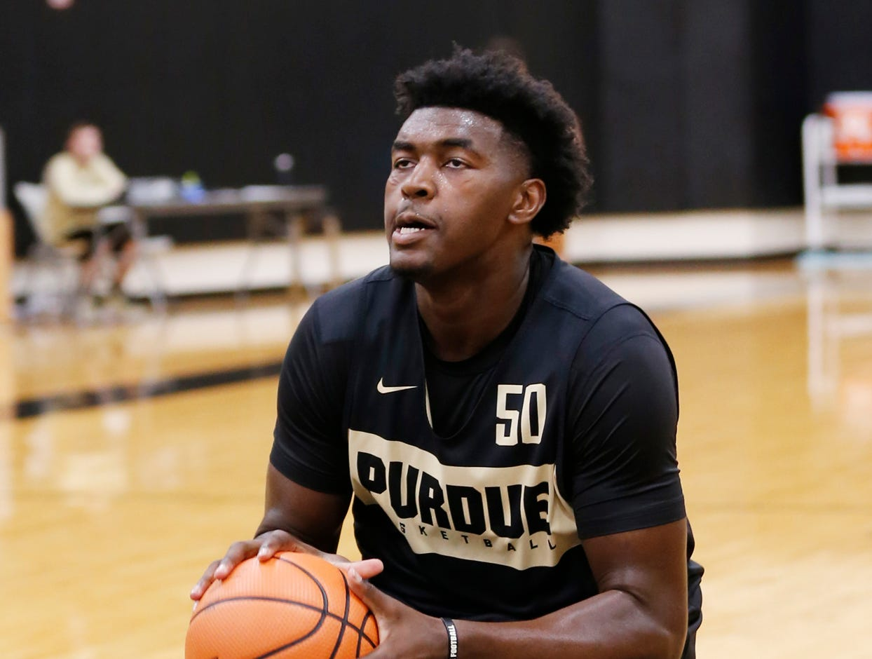 Trevion Williams runs a shot fake drill during the first official practice of the season for Purdue men's basketball Tuesday, September 25, 2018, at Cardinal Court in Mackey Arena.