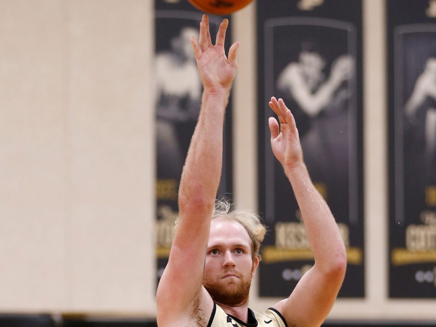 Evan Boudreaux puts up a shot during the first official practice of the season for Purdue men's basketball Tuesday, September 25, 2018, at Cardinal Court in Mackey Arena.