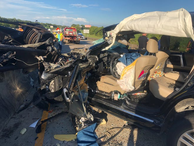 Louisiana State Police say a construction crane working to widen Interstate 10 collapsed onto an SUV, injuring the driver.