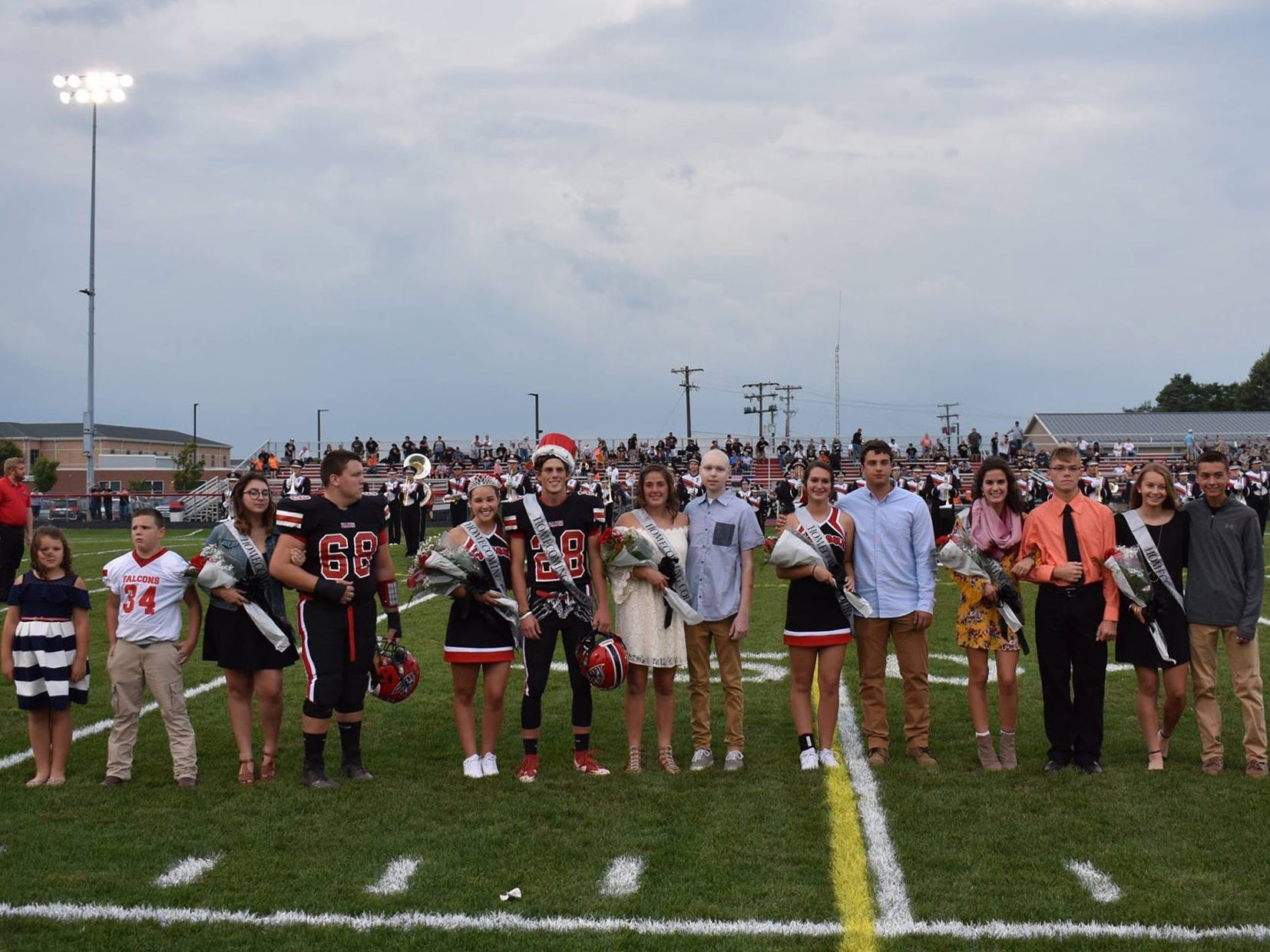 Fairfield Union's 2018 fall homecoming king and queen were crowned Firday night, Sept. 28, in Rushville. Pictured are (left to right): Flower girl Kendyl Wardand, crown bearer Mason Gee,  seniors Madison Dawson and Justin Cordle, Queen Marie Gornall, King Cullen Dennis, seniors Hannah Burnside and Luke Demmel, juniors Amelia Stansberry and Justin Barnhart, sophomores Brooklyn DeFazio and Matthew Qualls and freshman Caroline Brown and Andrew Hurst.