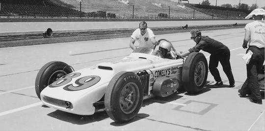 Jack Conely racing at the Indianapolis Motor Speedway.