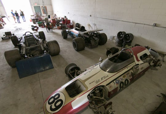 Jack Conely's race cars, shown Tuesday, Sept. 25, 2018, will be auctioned off this weekend.