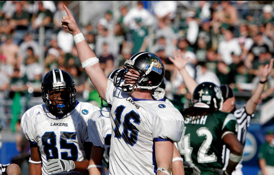 Brighton graduated Cullen Finnerty led Grand Valley State to three national championships as quarterback from 2003-06. He will be inducted posthumously into the Michigan Sports Hall of Fame Friday.