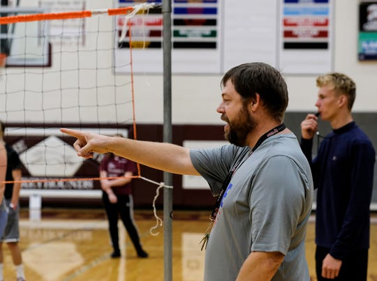 Eric Frohriep, teacher at Eaton Rapids High School, instructs an officiating class of 26 students this fall. He's been a registered official for several years and hopes his students will help ease the shortage of referees in the state.