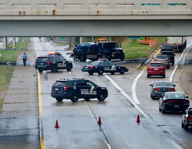 Police closed down all lanes of I-496 westbound near downtown Lansing Tuesday for a crash.