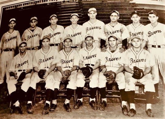 The 1941 Mansfield Braves, a Class D affiliate of the Cleveland Indians. Bob TeStruth (far left, back row), Bill Salem (far right, back row) and Bill Reinka (far right, front row) reunited in Mansfield 57 years later.