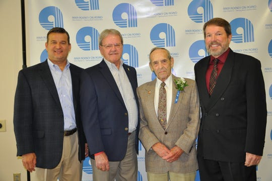 From left are Mayor Schertzer; Marion County Commissioner Kerr Murray; Don Wilson; Marion Senior Center director Steve Badertscher.