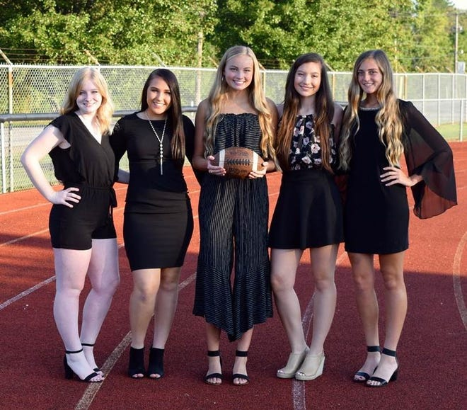 Pleasant High School Homecoming celebration took place Friday, Sept. 28, at the game against North Union. Seniors election to the 2018 Homecoming Court are, from left,Elizabeth Davie, Kayla McCoy, Ellie Grills, Kristina Fennell, and Kerrington Nelson.
