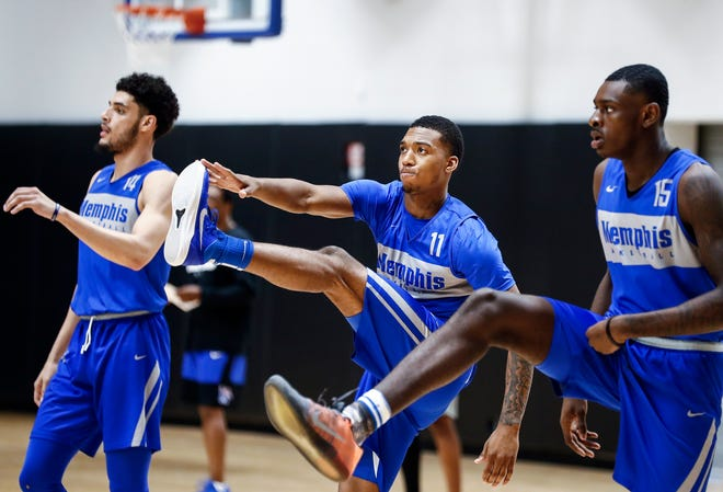 Memphis guard Antwann Jones (middle) during an open practice Tuesday afternoon at the Laurie-Walton Family Basketball Center.