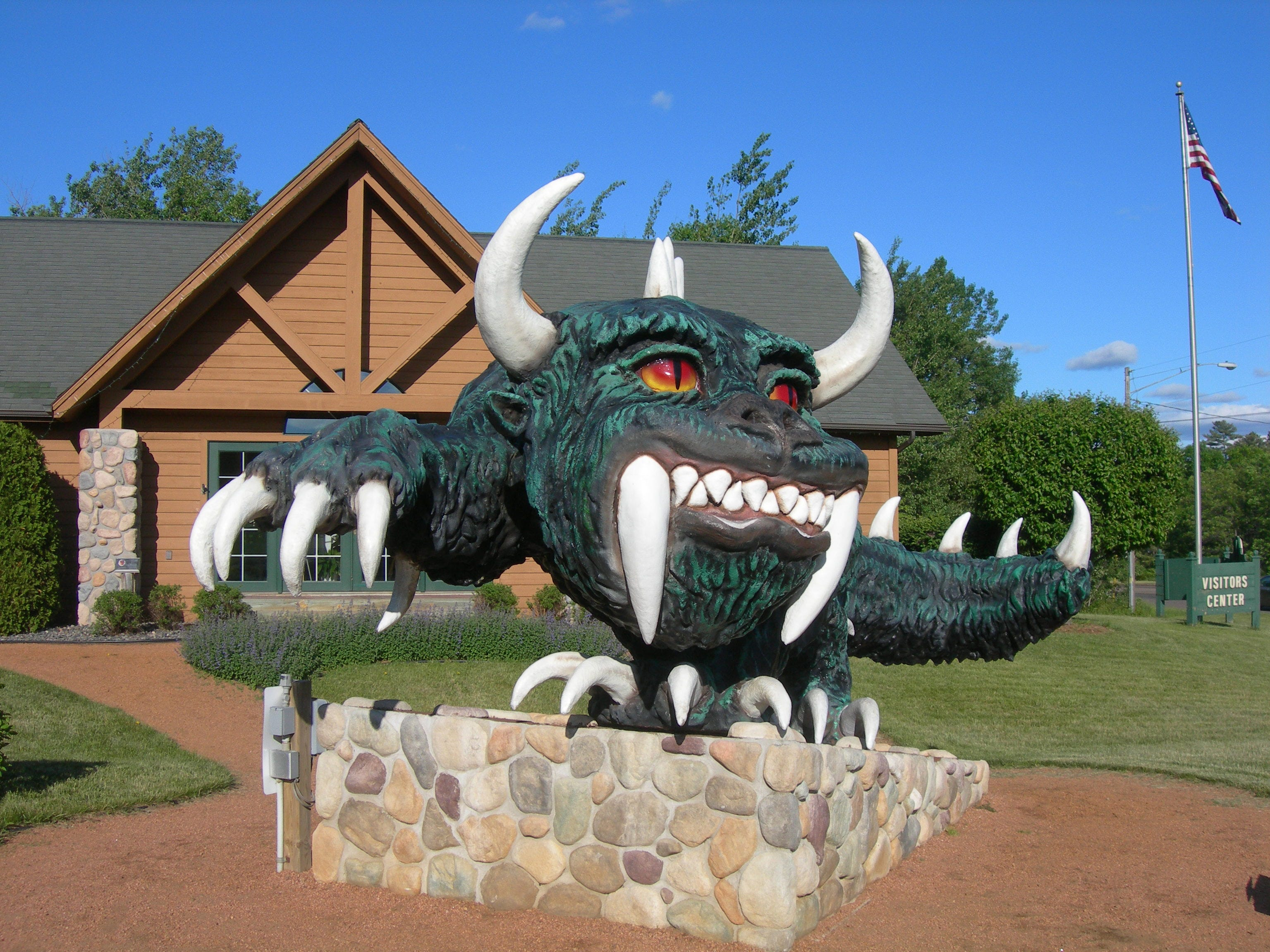 Hodag statue Located in front of the Rhindelander, WI Visitors Bureau.