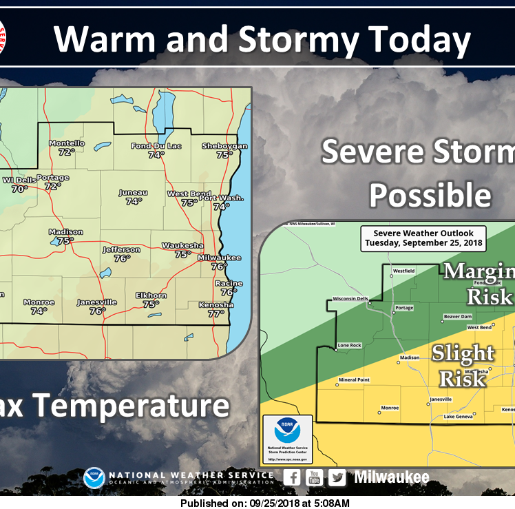 Southern Wisconsin could see severe weather this afternoon and tonight