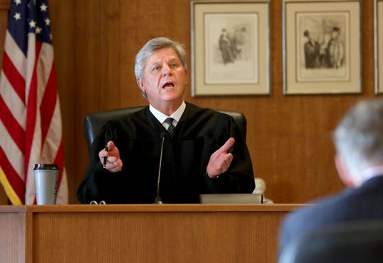 Racine County Circuit Judge Eugene Gasiorkiewicz presides as Racine Common Council member Sandra Weidner appeared in a Racine County court.