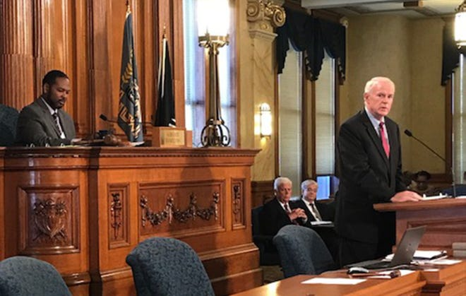 Milwaukee Mayor Tom Barrett gives his budget address Tuesday.