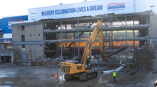 Demolition work began Tuesday, Sept. 25, 2018, at the  American Family Insurance Amphitheater on the Summerfest grounds in Milwaukee.