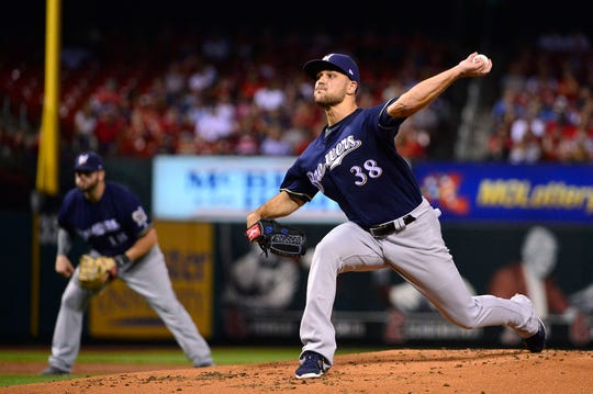 Milwaukee Brewers starting pitcher Dan Jennings (38) pitches during the first inning against the St. Louis Cardinals at Busch Stadium. In his only at-bat of the game, he retired Matt Carpenter on a groundout.