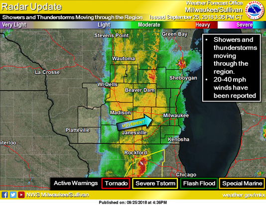 Rockford Weather Map.Storms Moving Through Southern Wisconsin