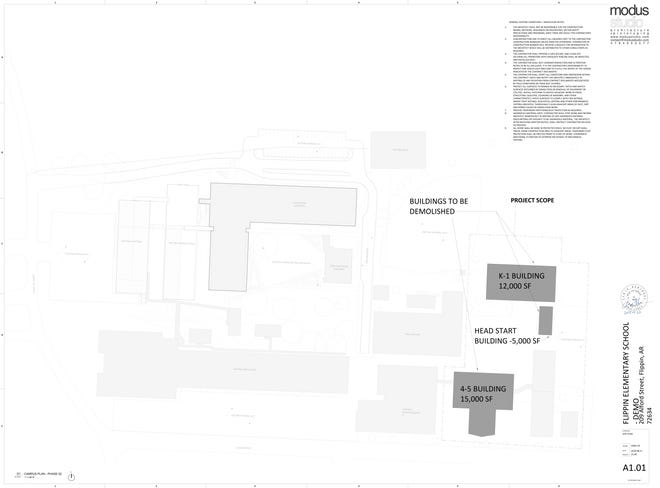 An architectural rendering of demoliton plans at Flippin Public Schools.