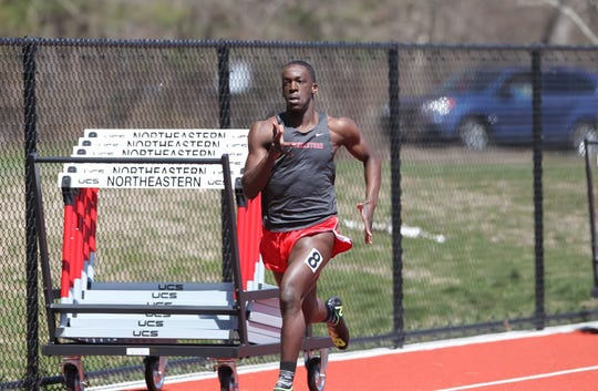 Brandon Moorer, a Seton Hall Prep alumnus from West Orange, runs the 400 meters for Northeastern.